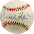 Autographs:Baseballs, Brooks Robinson Single Signed Baseball. The light cream tone ofvintage has begun to take over the OAL (Budig) baseball tha...
