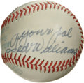 "Autographs:Baseballs, Ted Williams ""Your Pal"" Single Signed Baseball. Elegant side panelsingle comes to us here courtesy of the Splendid Splinte..."