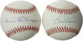 Autographs:Baseballs, Dom DiMaggio and Bob Doerr Single Signed Baseballs Lot of 2. BostonRed Sox friends and teammates of the great Ted Williams...