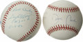 Autographs:Baseballs, Gaylord Perry and David Cone Single Signed Stat InscriptionBaseballs Lot of 2. A pair of singles from men who tossed no-hi...