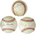 Autographs:Baseballs, Baseball Hall of Famers Single Signed Baseballs Lot of 3. Each orbfrom this fine trio has been adorned with a single signa...