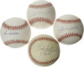 Autographs:Baseballs, Cleveland Indians Stars Single Signed Baseballs Lot of 4. Each ofthe four singles that we offer here has been signed by a ...