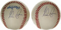 Autographs:Baseballs, Baseball No-Hitters Multi-Signed Baseballs Lot of 2. Each of theOAL (Brown) baseballs that we see here has been signed by ...
