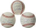 Autographs:Baseballs, Vintage Stars Multi-Signed Baseballs Lot of 3. Unique sampling ofOAL (Brown) and ONL (White) balls are signed as follows: ...