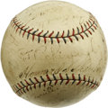 Autographs:Baseballs, 1930 Cleveland Indians Team Signed Baseball. Amazing vintageOfficial American League orb sports the fountain signatures of...