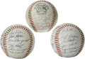 Autographs:Baseballs, 1965 and 1966 San Francisco Giants Team Signed Baseballs Lot of 3.Mays, McCovey and Marichal all appear in blue ink on the... (Total:3 Items)