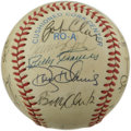 Autographs:Baseballs, 1983 California Angels Team Signed Baseball. The current offeringputs twenty signatures from the 1983 California Angels up...