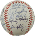 Autographs:Baseballs, 1985 Seattle Mariners Team Signed Baseball. The 1985 SeattleMariners are represented here with twenty-one signatures on th...
