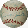 Autographs:Baseballs, 1988 Cincinnati Reds Team Signed Baseball. Twenty-four strong blueink signatures are punctuated by a sweet spot Pete Rose....