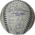 Autographs:Baseballs, 1999 New York Yankees Team Signed Baseball. The World ChampionshipYankees turn out in force (twenty-eight autographs in al...