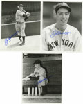 Baseball Collectibles:Photos, Trio of Joe DiMaggio Autographed Photos. Three black and white 8x10photos signed by Joe in blue sharpie are offered here. ...