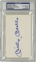 Autographs:Baseballs, Mickey Mantle Signed Index Card PSA Authentic. The Mick's perfectblue sharpie signature has been applied to the unlined 3x...