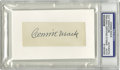 """Autographs:Letters, Connie Mack Cut Signature PSA Authentic. Offered is a cut signaturemounted on a 3x5"""" index card of deceased Philadelphia A..."""