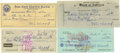 Autographs:Checks, 1951-79 Joe Wood Signed Checks Lot of 4. The ace of the 1912 seasonwas the feared fastballer Smoky Joe Wood racked up an a...