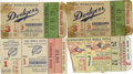 Baseball Collectibles:Tickets, 1954 and 1955 World Series Tickets/Stubs (4). Offered are fourticket stubs from the 1954 and 1955 Fall Classics. Included ...