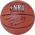 Basketball Collectibles:Balls, Shaquille O'Neal Single Signed Basketball. Larger-than-life NBAcenter Shaquille O'Neal has made the Spalding basketball we...
