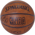 Basketball Collectibles:Balls, 1990s NBA Stars Multi-Signed Basketball. What we see here is afantastic assortment of signatures of NBA stars from the lat...