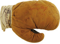 Cassius Clay, Sugar Ray Robinson and Joe Louis Multi-Signed Mini Boxing Glove. Collected on the surface of the vintage 1...