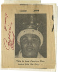 Boxing Collectibles:Autographs, Cassius Clay Signed Newspaper Clipping. The legendary Cassius Clay has applied his 10/10 red ink signature to the vintage ...