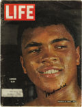 """Boxing Collectibles:Autographs, Muhammad Ali Signed 1964 """"Life"""" Magazine. This Life magazine from March 1964 features the baby-faced Cassius Clay on th..."""