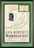 Boxing Collectibles:Autographs, Jack Dempsey Signed Menu with Vintage Restaurant Ephemera. JackDempsey's popular Broadway restaurant in New York City's Ti...