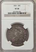 Bust Half Dollars: , 1831 50C VF30 NGC. NGC Census: (32/1350). PCGS Population(37/1504). Mintage: 5,873,660. Numismedia Wsl. Price for problem...