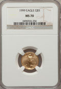 Modern Bullion Coins: , 1999 G$5 Tenth-Ounce Gold Eagle MS70 NGC. NGC Census: (1373). PCGSPopulation (138). Numismedia Wsl. Price for problem fre...
