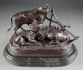 Bronze:European, A PATINATED BRONZE FIGURAL GROUP AFTER JULES MOIGNIEZ (FRENCH, 1835-1894): COWS . 19th century . Marks: J. MOIGNIE...
