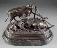 A PATINATED BRONZE FIGURAL GROUP AFTER JULES MOIGNIEZ (FRENCH, 1835-1894): COWS 19th centur
