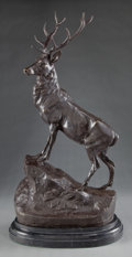 Paintings, A PATINATED BRONZE FIGURE AFTER JULES MOIGNIEZ (FRENCH 1835-1894): ELK. 19th century . Marks: J. MOIGNIEZ . 29-1...
