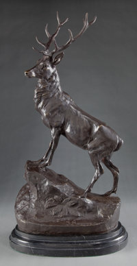 A PATINATED BRONZE FIGURE AFTER JULES MOIGNIEZ (FRENCH 1835-1894): ELK 19th century Mark
