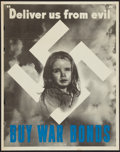 "Movie Posters:War, World War II Propaganda (U.S. Government Printing Office, 1943).Poster (22"" X 28""). ""Deliver Us from Evil, Buy War Bonds."" ..."