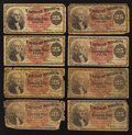 A Group of Eight 25¢ Fourth Issue Examples Very Good