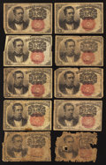 Fractional Currency:Fifth Issue, Ten 10¢ Fifth Issue Notes Poor-Fine.. ... (Total: 10 notes)