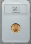 Commemorative Gold: , 1926 $2 1/2 Sesquicentennial MS61 NGC. NGC Census: (341/6371). PCGSPopulation (228/9834). Mintage: 46,019. Numismedia Wsl....