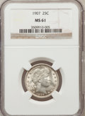 Barber Quarters: , 1907 25C MS61 NGC. NGC Census: (11/218). PCGS Population (15/289).Mintage: 7,192,575. Numismedia Wsl. Price for problem fr...