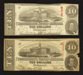 Confederate Notes:1863 Issues, T59 $10 1863 Two Examples.. ... (Total: 2 notes)