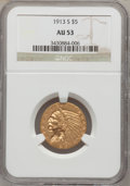 Indian Half Eagles: , 1913-S $5 AU53 NGC. NGC Census: (126/1180). PCGS Population(47/515). Mintage: 408,000. Numismedia Wsl. Price for problem f...