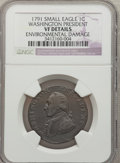 Colonials: , 1791 1C Washington Small Eagle Cent -- Environmental Damage -- NGCDetails. VF. NGC Census: (0/57). PCGS Population (0/208)...