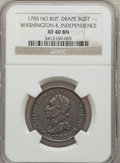 Colonials, 1783 1C Washington & Independence Cent, Draped Bust, No ButtonXF40 NGC. NGC Census: (5/19). PCGS Population (13/65). (#6...