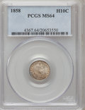 Seated Half Dimes: , 1858 H10C MS64 PCGS. PCGS Population (117/131). NGC Census:(175/174). Mintage: 3,500,000. Numismedia Wsl. Price for proble...