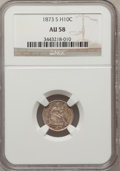 Seated Half Dimes: , 1873-S H10C AU58 NGC. NGC Census: (21/223). PCGS Population(19/205). Mintage: 324,000. Numismedia Wsl. Price for problem f...