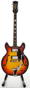 Musical Instruments:Electric Guitars, 1960's Univox 335 Copy Sunburst Semi-Hollow Body Electric Guitar,Serial #0185119....