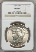 Peace Dollars, 1935 $1 MS66+ NGC. CAC....