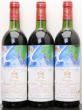 Red Bordeaux, Chateau Mouton Rothschild 1982 . Pauillac. 3vhs, 3lscl,1ssos. Bottle (3). ... (Total: 3 Btls. )