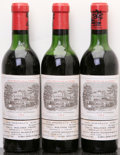 Red Bordeaux, Chateau Lafite Rothschild 1964 . Pauillac. 2hs, 1htms,3lbsl. Half-Bottle (3). ... (Total: 3 Halves. )