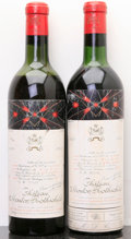 Red Bordeaux, Chateau Mouton Rothschild 1959 . Pauillac. 1vhs, 1ms, 2lbsl,2lscl, excellent color. Bottle (2). ... (Total: 2 Btls. )