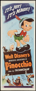 "Movie Posters:Animation, Pinocchio (RKO, R-1954). Insert (14"" X 36""). Animation.. ..."