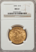 Liberty Eagles: , 1893 $10 MS61 NGC. NGC Census: (10120/18813). PCGS Population(5262/8960). Mintage: 1,840,895. Numismedia Wsl. Price for pr...