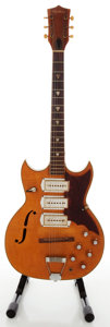 Musical Instruments:Electric Guitars, 1960's Airline Barney Kessel Natural Semi-Hollow Body ElectricGuitar...